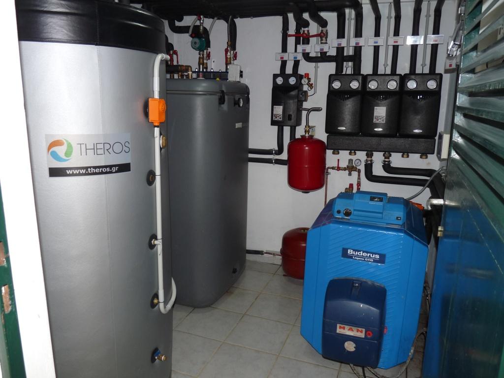 Το μηχανοστάσιο για την ηλιακή θέρμανση